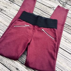 Pants - NWOT Burgundy Zippered Ponte Knit Leggings